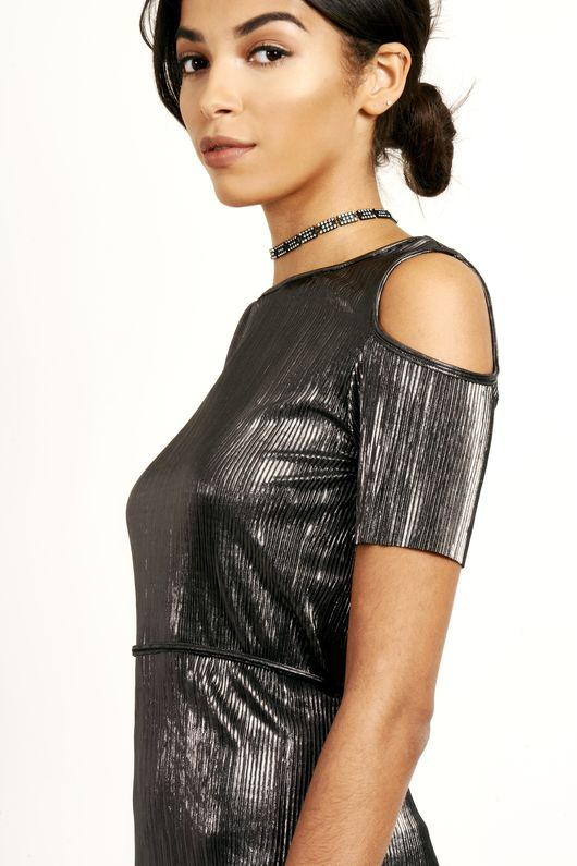 Metallic Pleated Cold Shoulder Mini Dress Grey