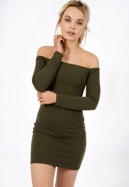 Bardot Mini Dress Khaki