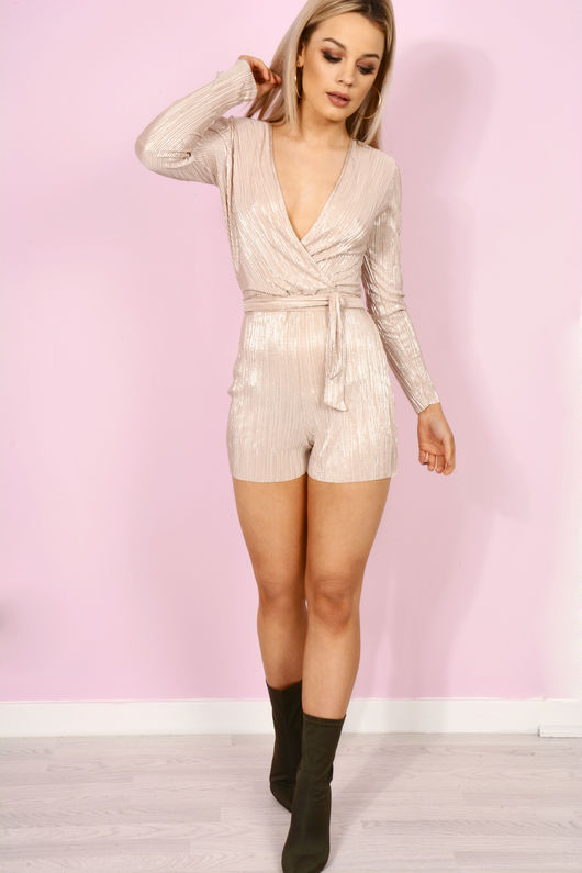 Ruched Silky Playsuit Champagne