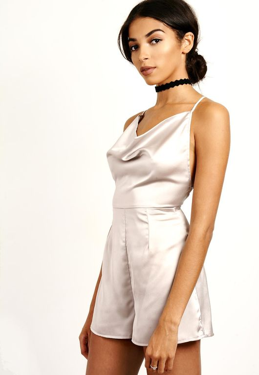 Strappy Metallic Silky Playsuit Silver