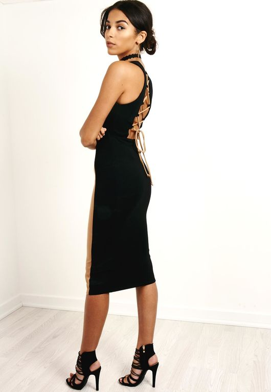 Laced Back Bodycon Dress Black & Camel