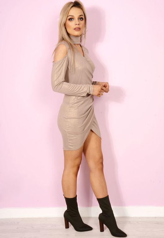 Camel Shimer Wrap Over Choker Dress.