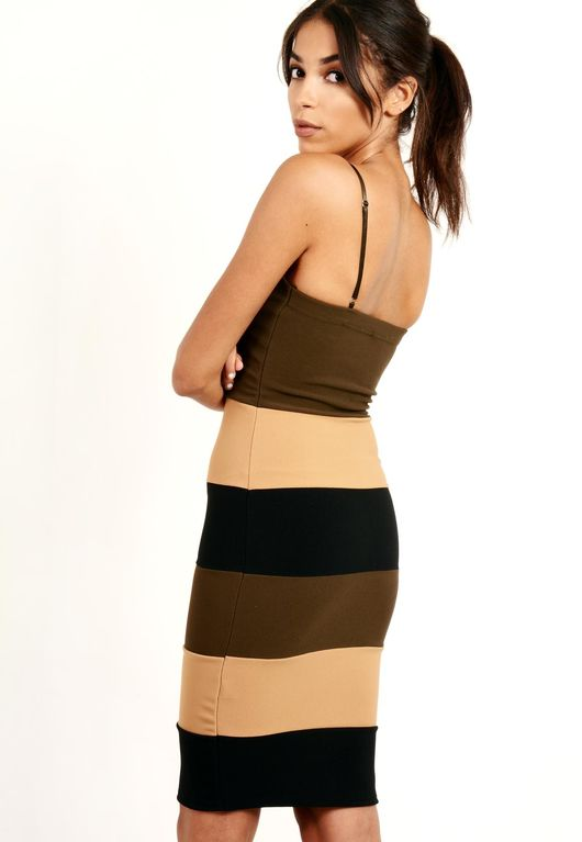 Khaki Panelled Bodycon Dress