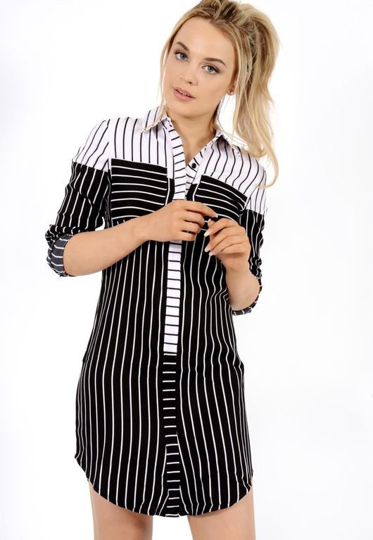 Stripe Shirt Dress Black / White