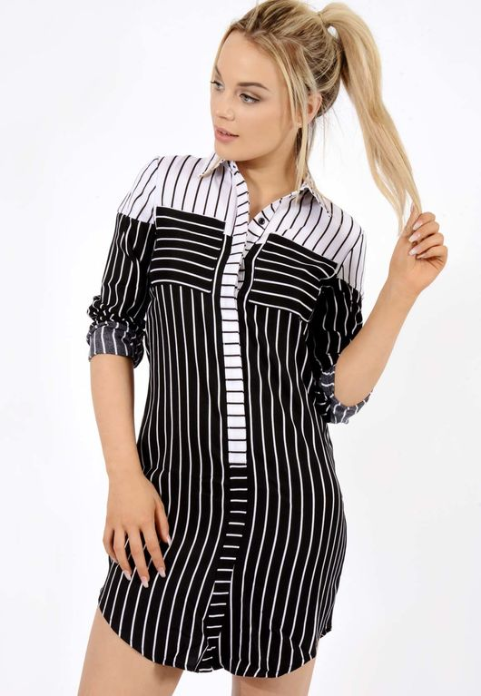 Liaya Stripe Shirt Dress Black / White