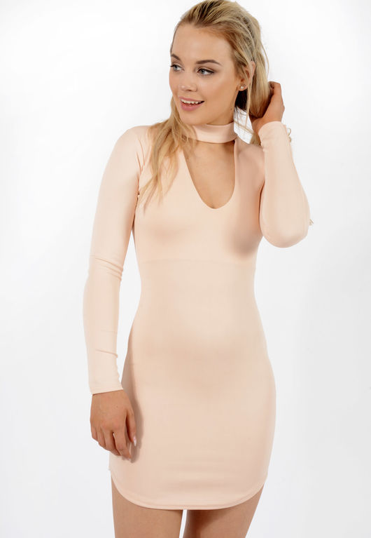 Choker Detail Dress Nude