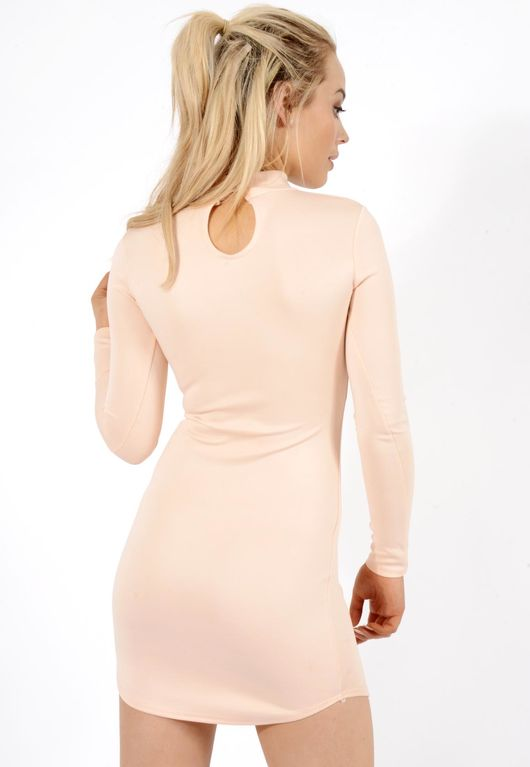 Megan Nude Choker Neck Detail Dress