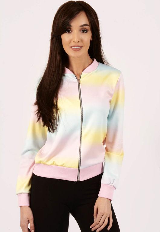 Serina Pastel Rainbow Bomber Jacket