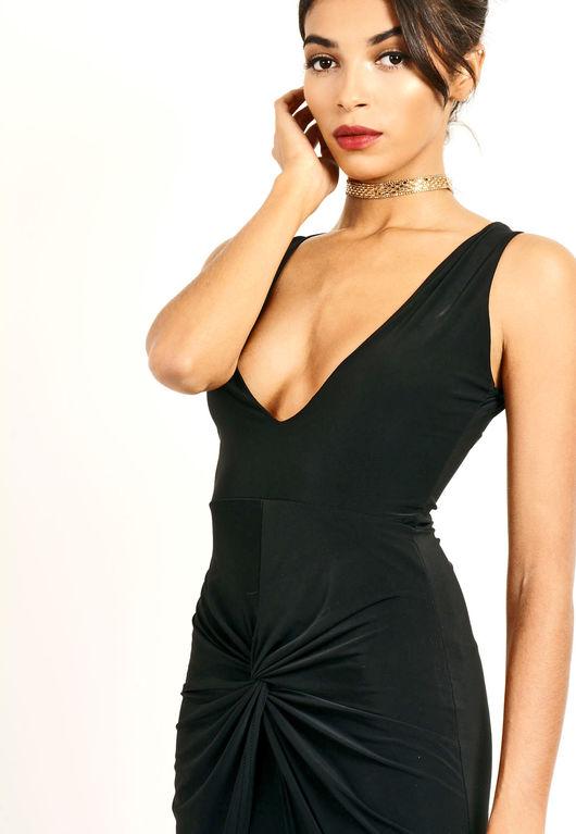 Slinky Thigh Split Dress Black
