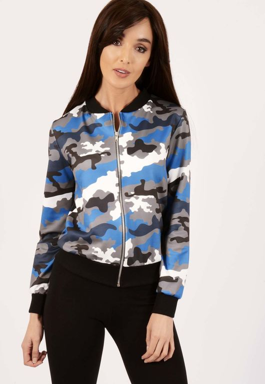 Erin Blue Camo Bomber Jacket