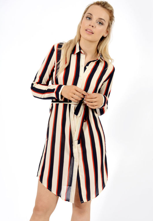 Elanor Navy Nude Stripe Belted Shirt Dress