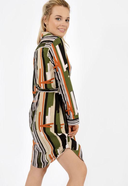 Jemma Abstract Khaki Belted Shirt Dress