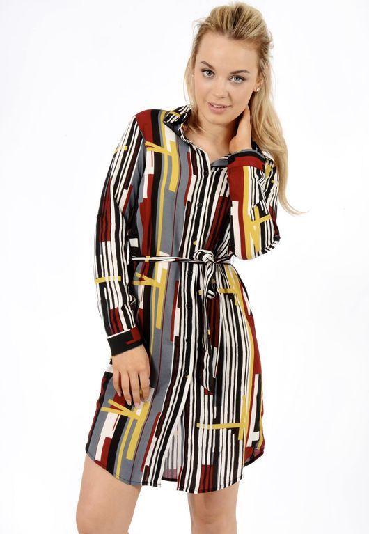 Jemma Abstract Multi Belted Shirt Dress