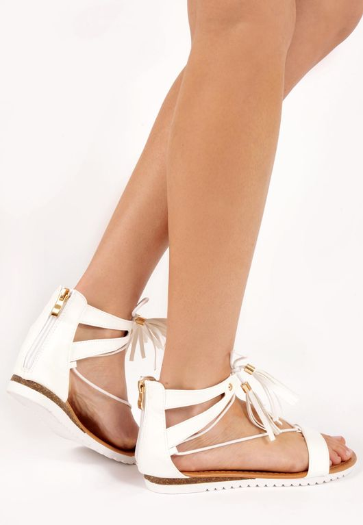 Lornah White PU Tie Up Sandals