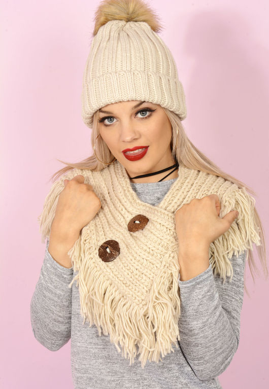 Knitted Button Detail Snood Beige