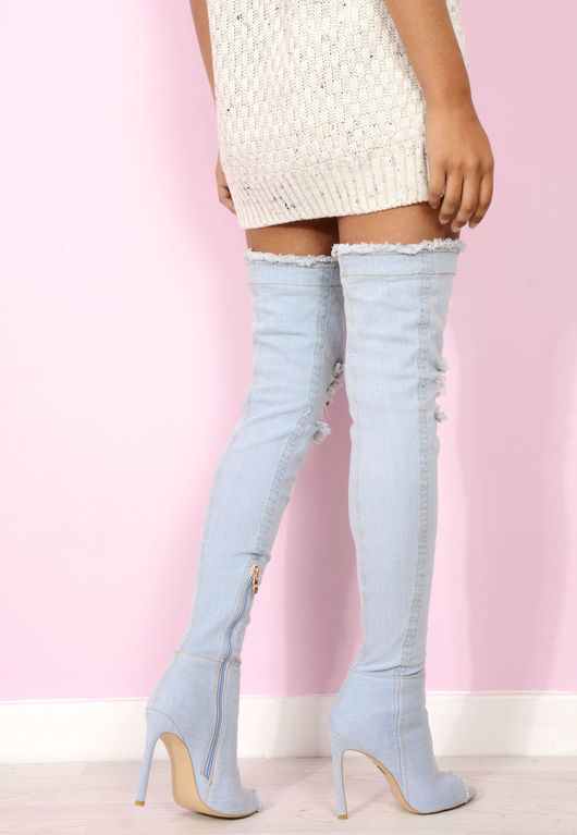 Stone Wash Denim Over The Knee Boots