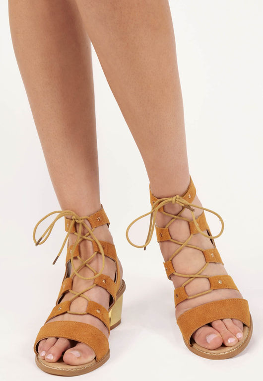 Diane Camel Cut Out Lace Up Sandals