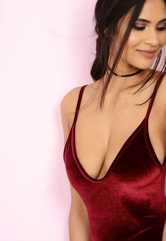Velvet Cami Bodysuit Wine