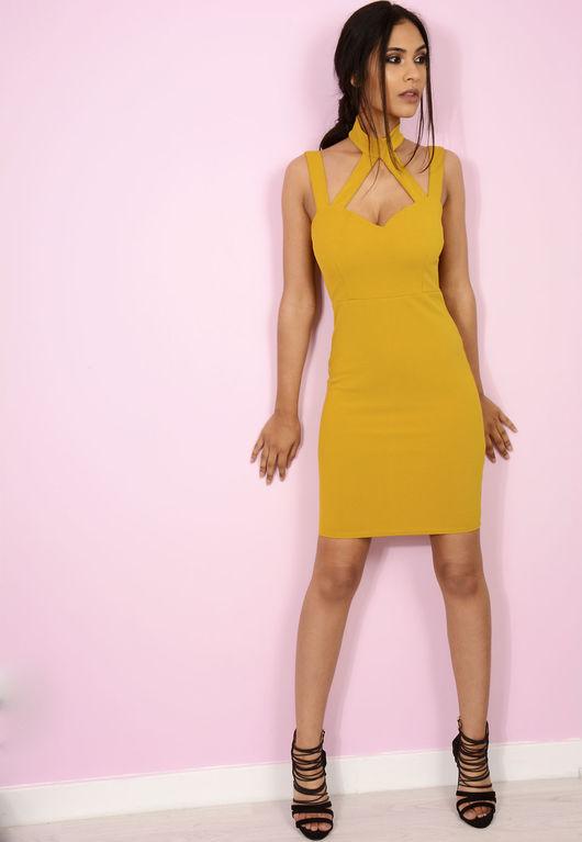 Jenni Choker Cross Bodycon Mustard