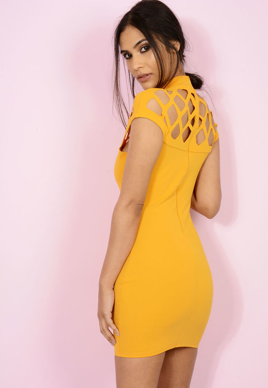 Caged Shoulder Dress Yellow
