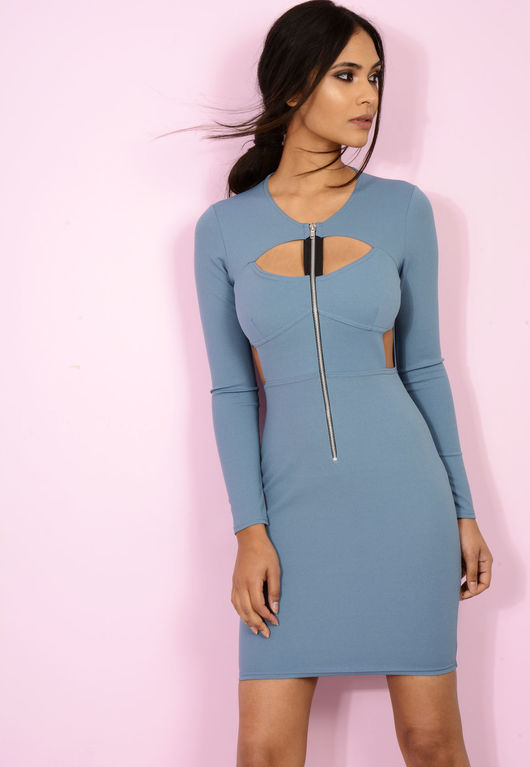 Zip Up Cut Out Bodycon Dress Teal