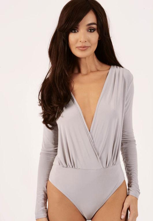 Kesha Grey Wrap Over Bodysuit