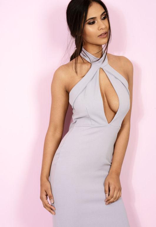 High Neck Cut Out Midi Dress Grey