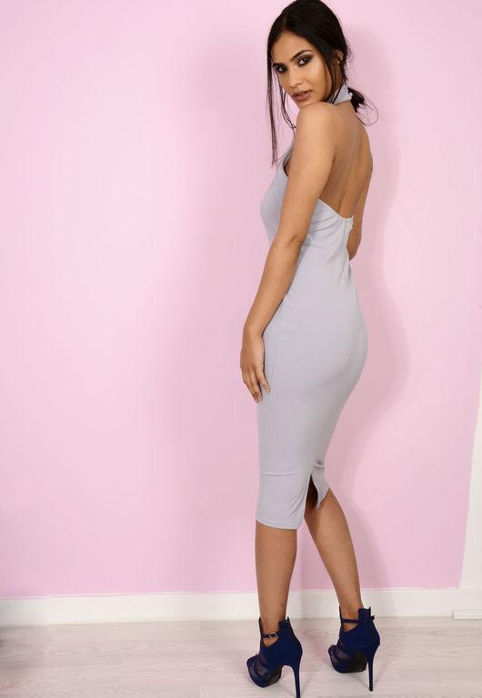 High Neck Cut Out Midi Dress Lilac