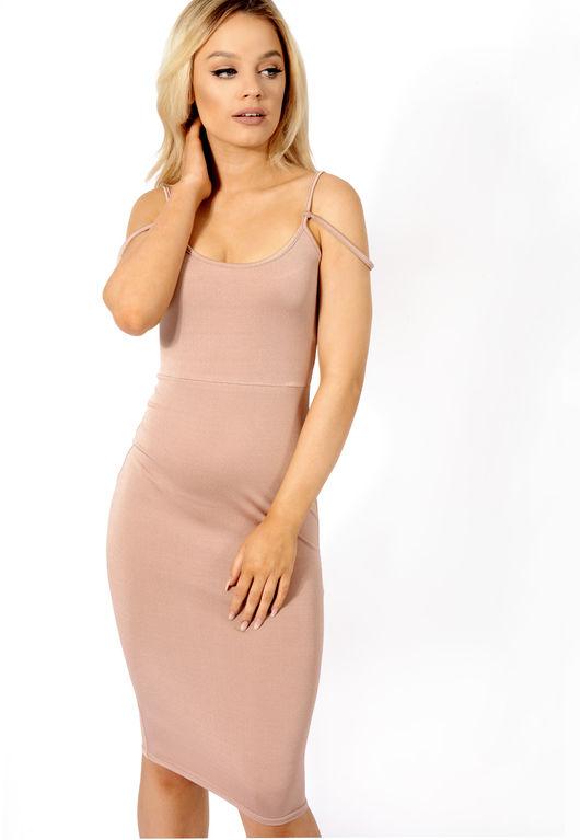 Double Strap Slinky Midi Dress Rose