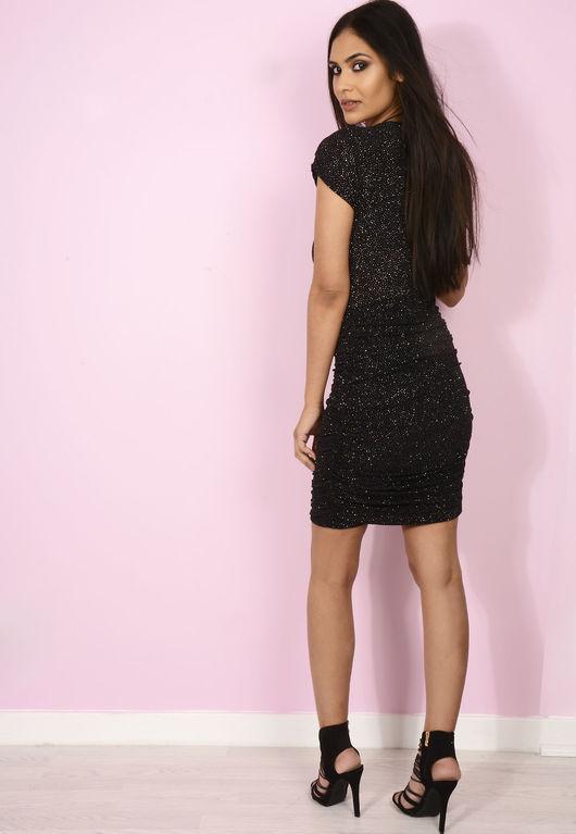 Glitter Plunge Mini Dress Black