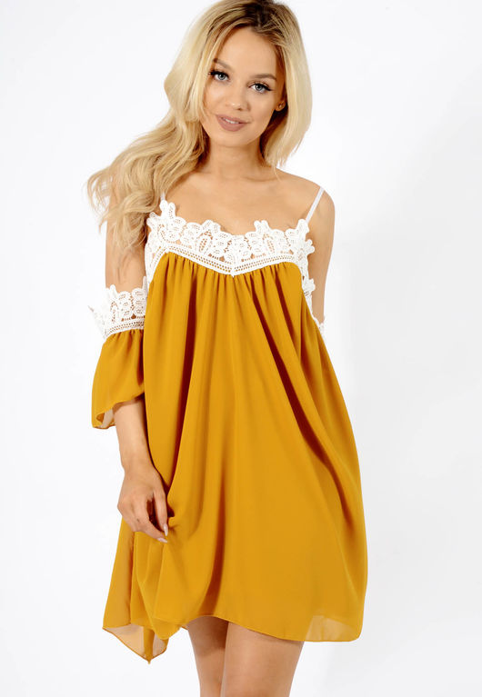 Crochet trim cold shoulder dress Yellow
