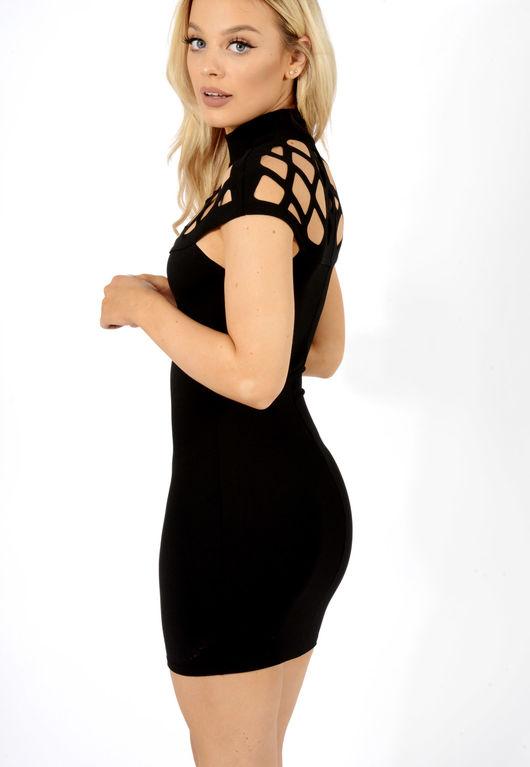 Caged shoulder dress Black