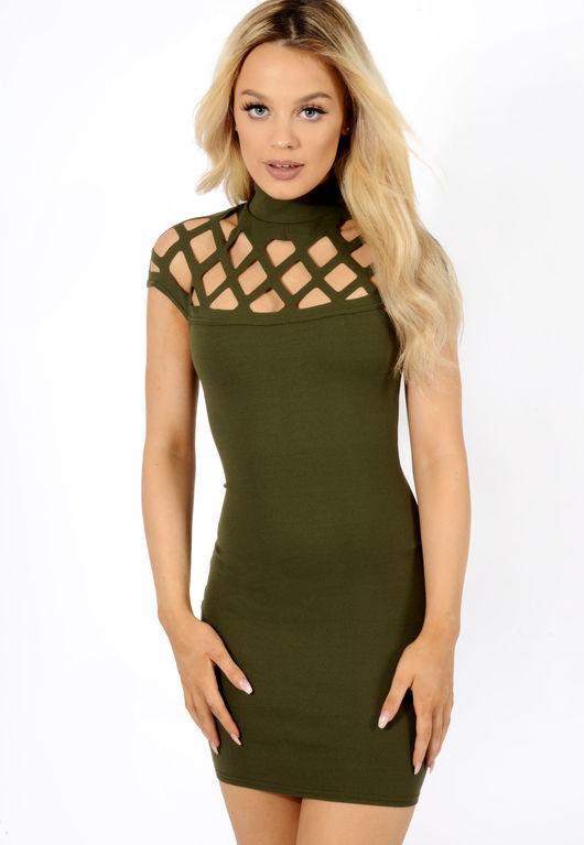 Caged shoulder dress Khaki