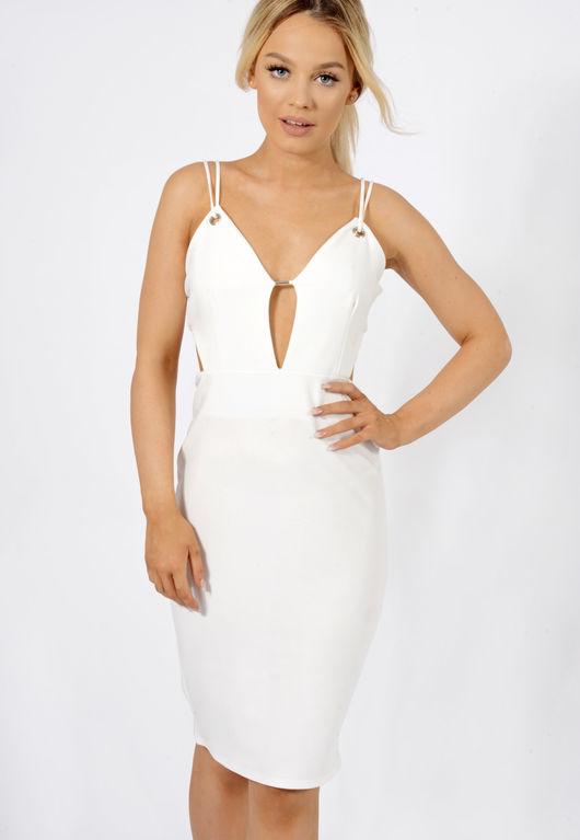 Double Strap Plunge Bodycon Dress White