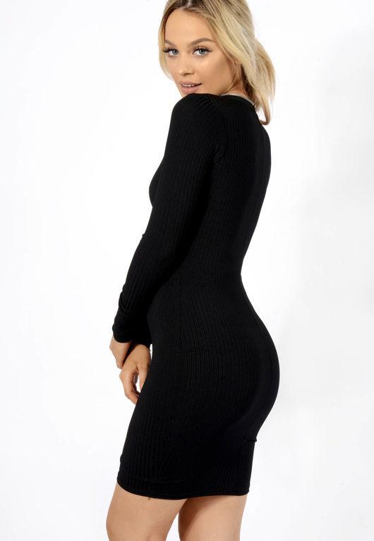 Zip Up Ribbed Mini Dress Black