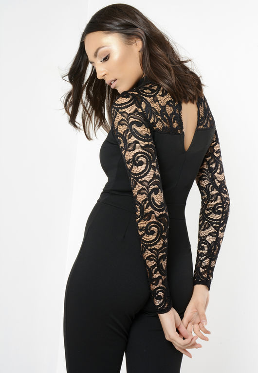Black Lace Detail Caged Jumpsuit