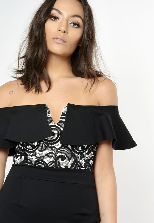 Daisy Black Lace Bardot Jumpsuit