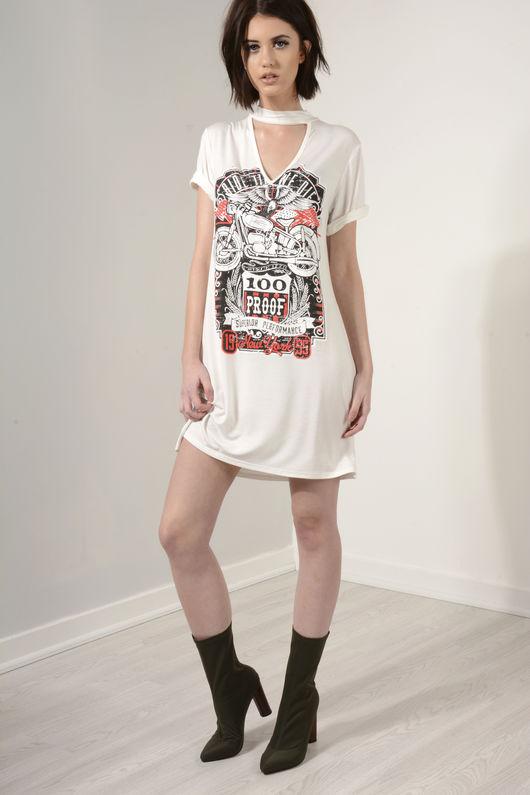 Ride Til We Die Choker T-Shirt Dress White