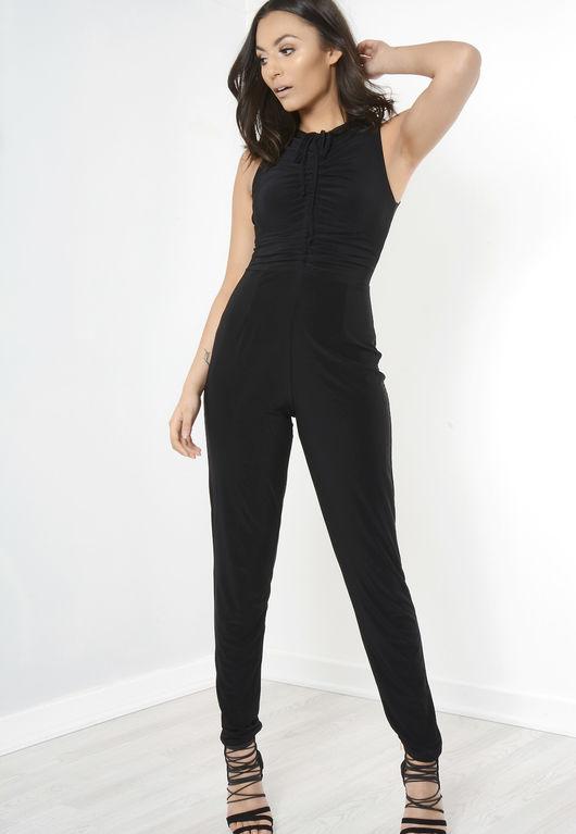 Sylvia Front Tie Sleeveless Jumpsuit Black
