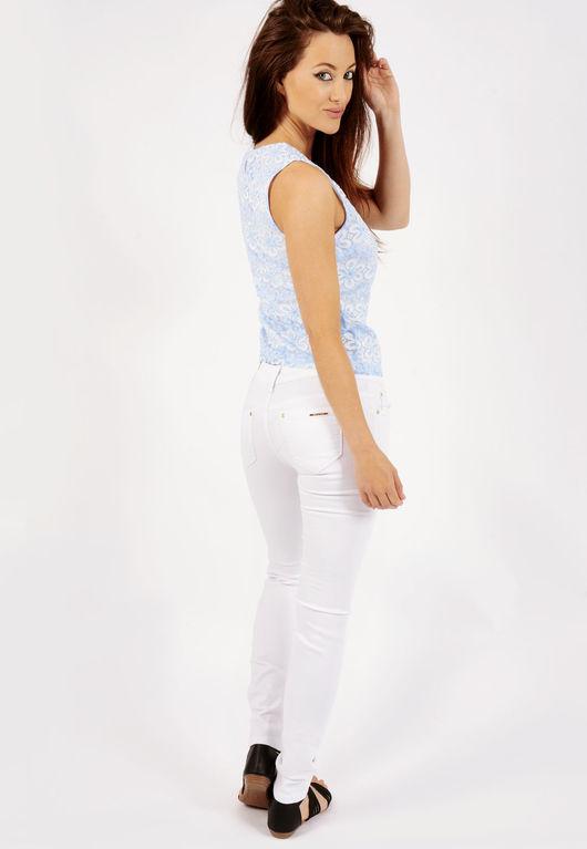 Gloria White Multi Rip High Waisted Jeans