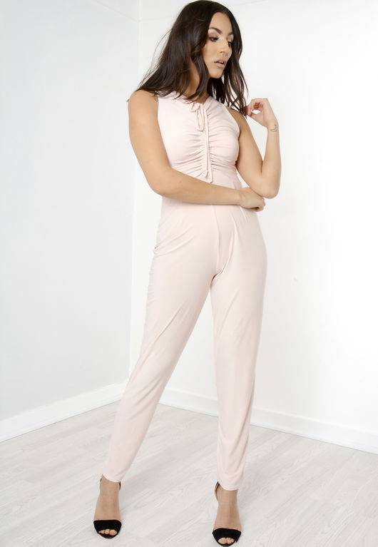 Sylvia Front Tie Sleeveless Jumpsuit Pink