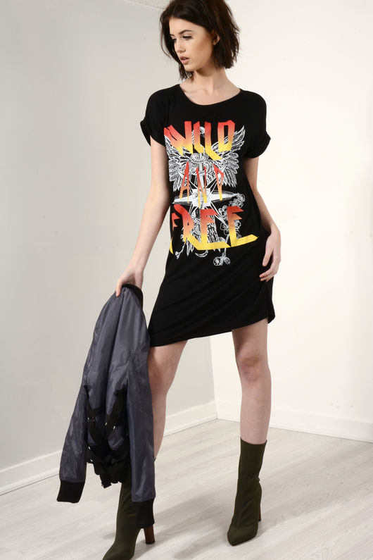 Yasmin Black Wild And Free T-Shirt Dress