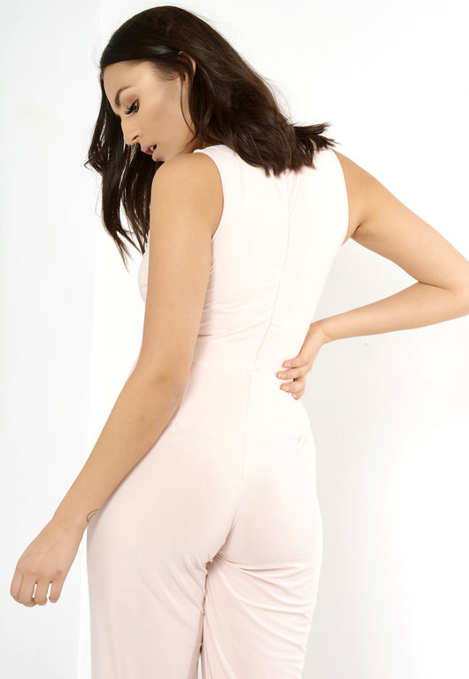 Front Tie Sleeveless Jumpsuit Pink