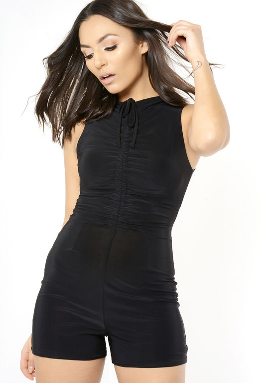 Black Front Tie Sleeveless Playsuit