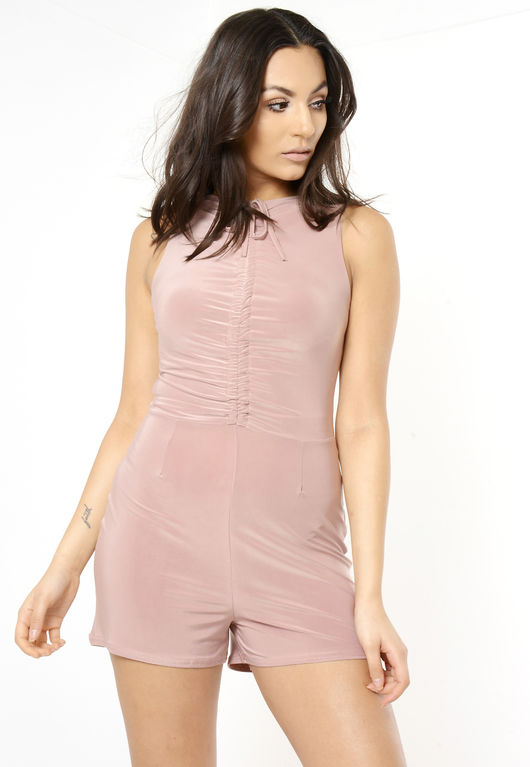Pink Front Tie Sleeveless Playsuit
