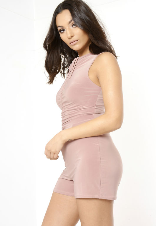 Rose Front Tie Sleeveless Playsuit