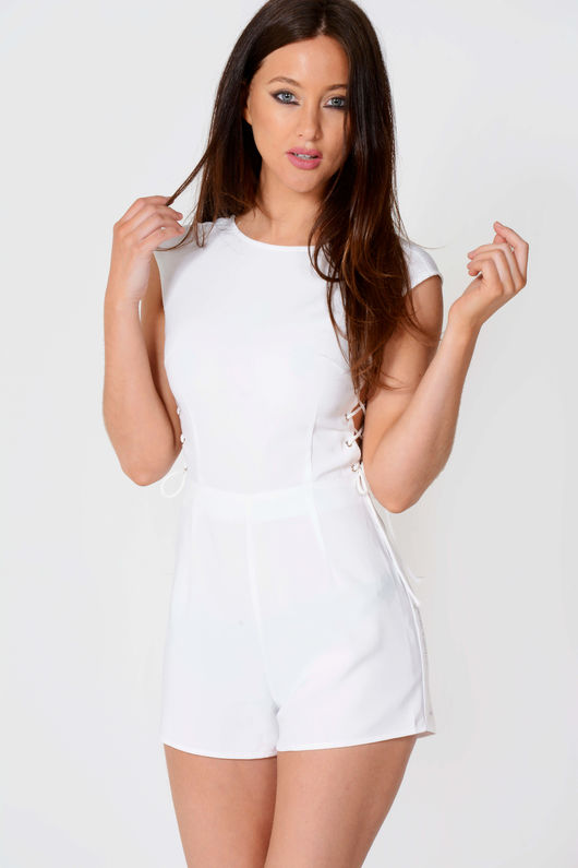 Camila White Side Lace Up Detail Playsuit
