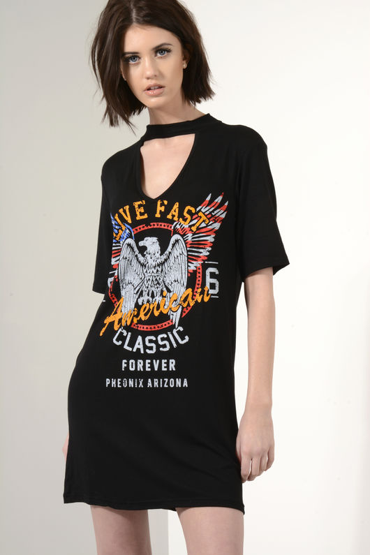 Mila Live Fast Black Choker T-Shirt Dress
