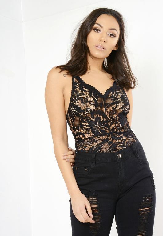 Hannah Black Lace Bodysuit