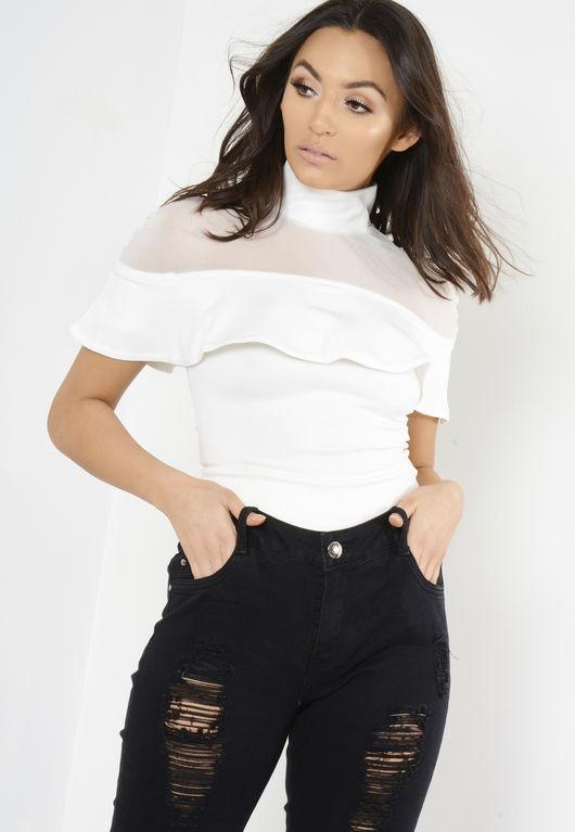 White Frill Mesh Combo Bodysuit